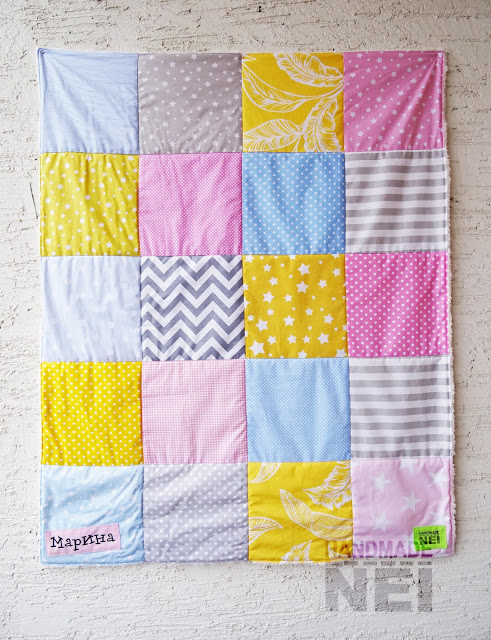 """Пачуърк одеяло с полар за бебе """"Марина"""" - Handmade Nel"""