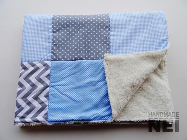 """Пачуърк одеяло с полар за бебе """"Сиво-синьо"""" - Handmade Nel"""