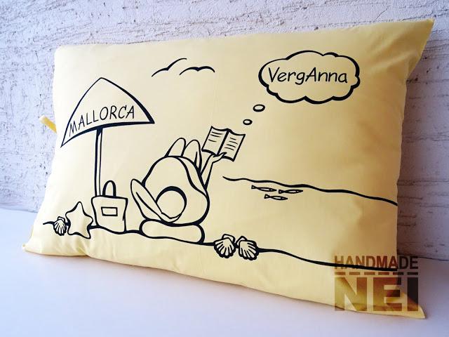 "Рисувана калъфка за възглавница ""Майорка"" - Handmade Nel"