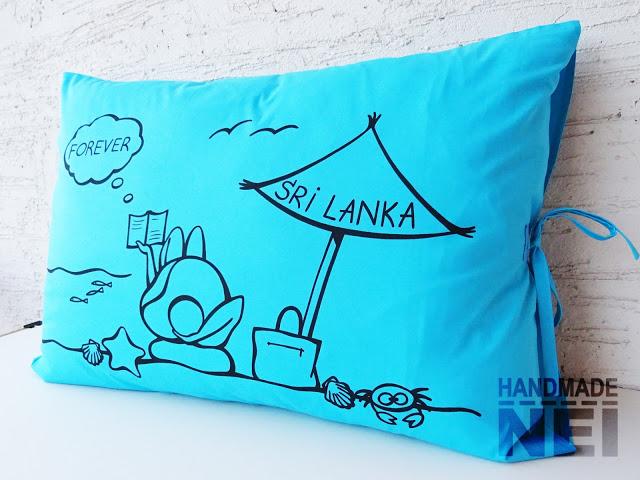 """Рисувана калъфка за възглавница """"Шри Ланка"""" - Handmade Nel"""