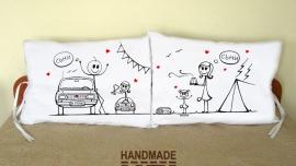 """Калъфки за възглавници за влюбени """"На парад и палатка"""""""