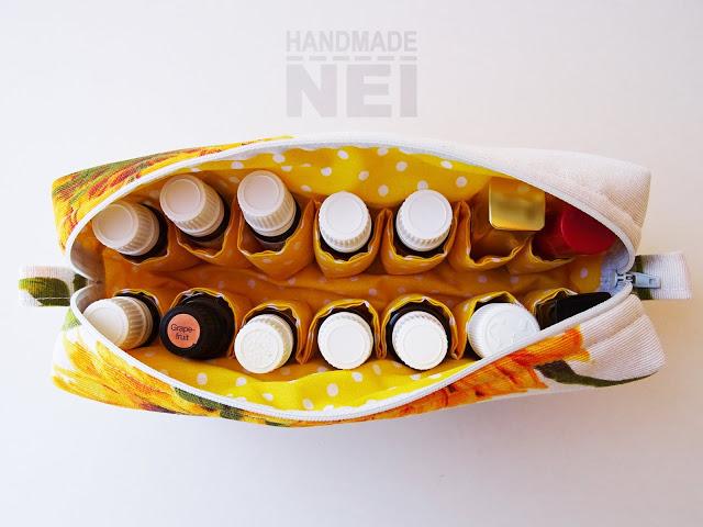 """Голям несесер за етерични масла """"Слънчогледи"""" - Handmade Nel"""
