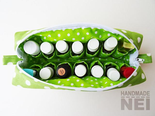 """Голям несесер за етерични масла """"Зелено на точки"""" - Handmade Nel"""