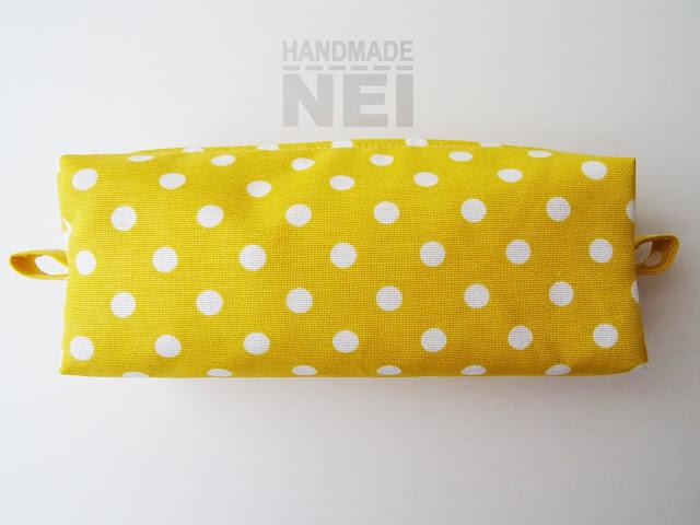 """Голям несесер за етерични масла """"Жълто на точки"""" - Handmade Nel"""