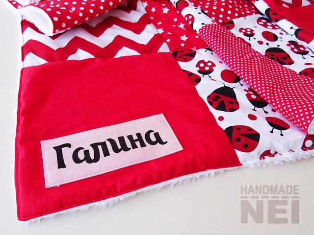 """Пачуърк одеяло с полар за бебе """"Червени калинки"""" - Handmade Nel"""