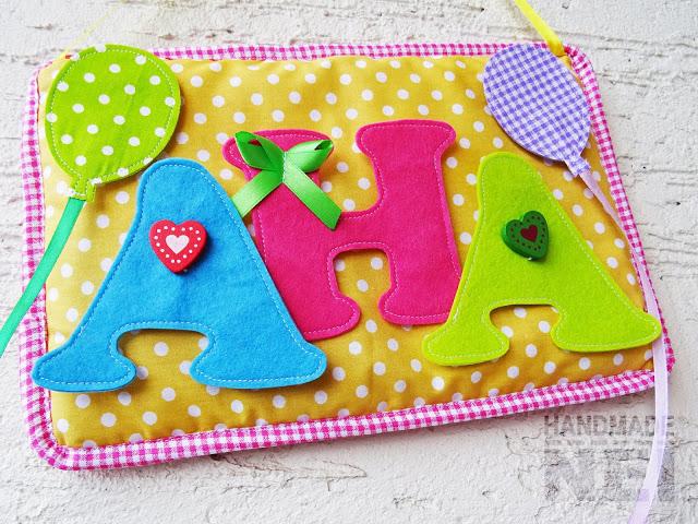 """Табелка за име от плат """"Ана"""" - Handmade Nel"""