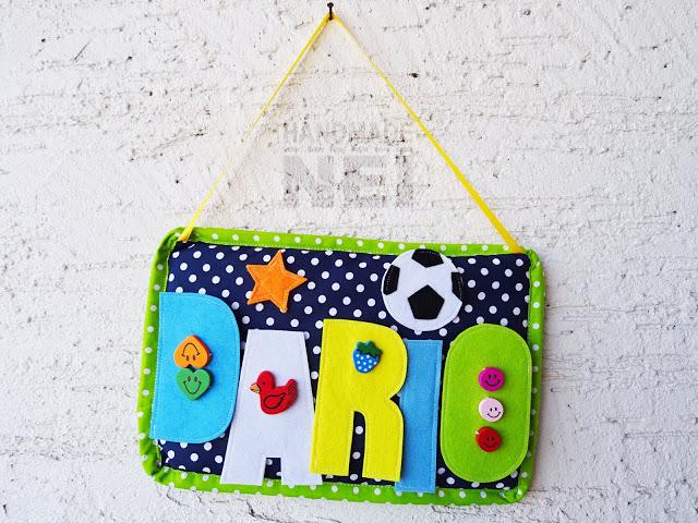 "Табелка за име от плат ""Dario"" - Handmade Nel"