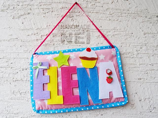 "Табелка за име от плат ""Elena"" - Handmade Nel"