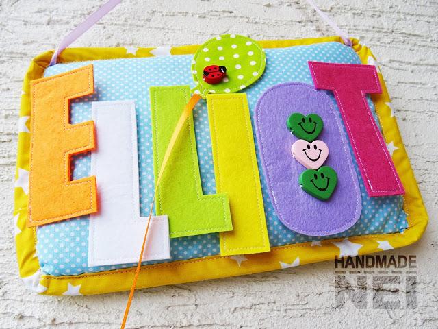 """Табелка за име от плат """"Elliot"""" - Handmade Nel"""