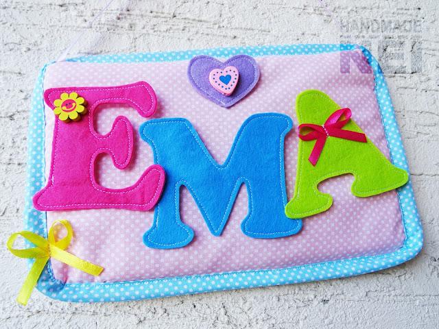 "Табелка за име от плат ""Ема"" - Handmade Nel"