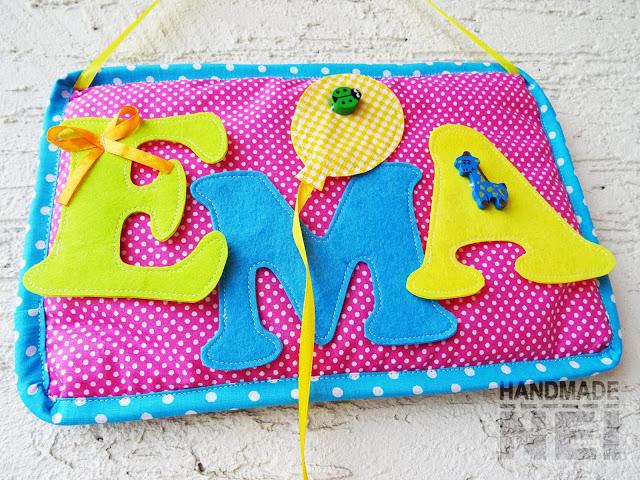 "Табелка за име от плат ""Ема""2 - Handmade Nel"