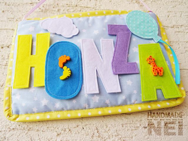 """Табелка за име от плат """"Honza"""" - Handmade Nel"""