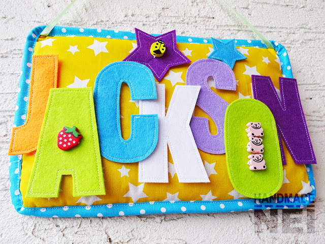 "Табелка за име от плат ""Jackson"" - Handmade Nel"
