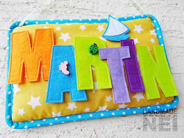 "Табелка за име от плат ""Martin"" - Handmade Nel"