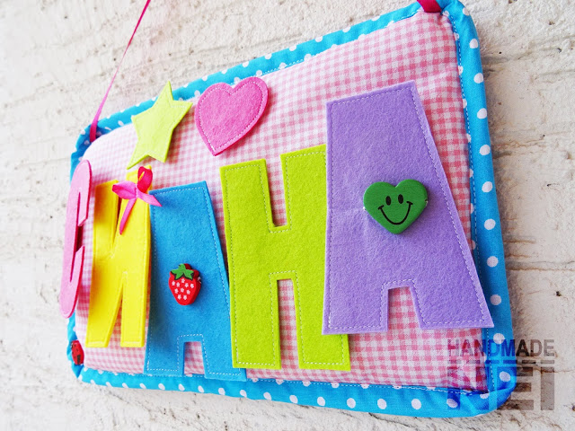 "Табелка за име от плат ""Сиана"" - Handmade Nel"