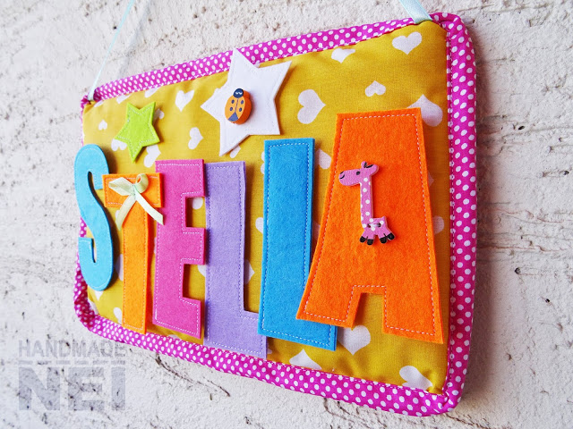 """Табелка за име от плат """"Stella"""" - Handmade Nel"""