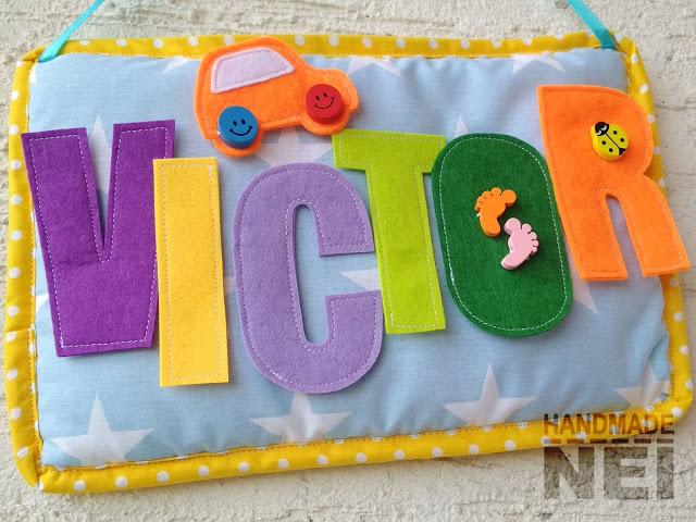 """Табелка за име от плат """"Victor"""" - Handmade Nel"""