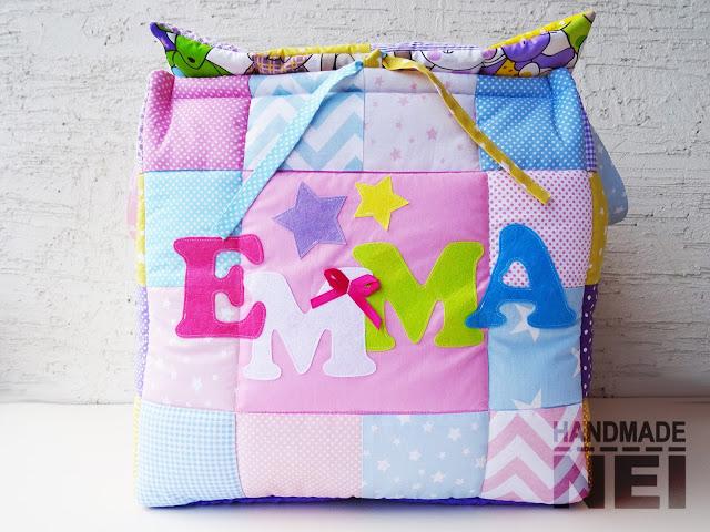"""Мини кош за играчки от плат """"Емма""""2 - Handmade Nel"""