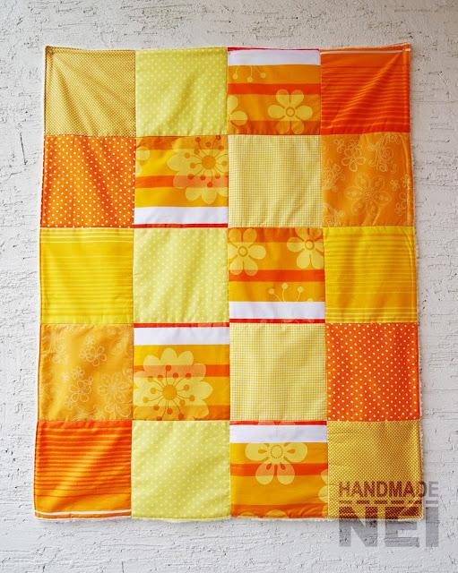 """Пачуърк одеяло с полар за бебе """"Жълто-оранжево"""" - Handmade Nel"""