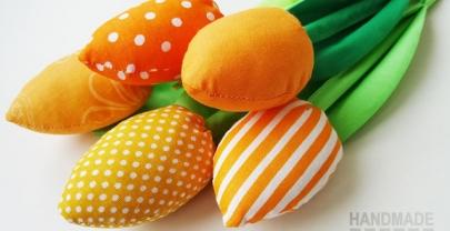 Оранжеви лалета от плат