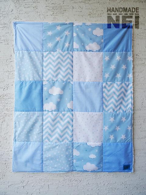 """Пачуърк одеяло с полар за бебе """"Синьо"""" - Handmade Nel"""