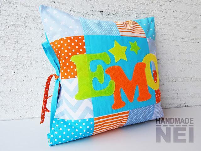 """Пачуърк калъфка за възглавница """"Емо"""" - Handmade Nel"""