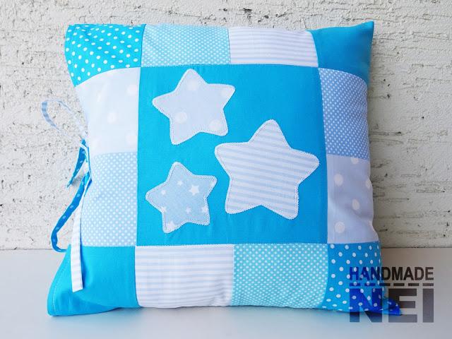 """Пачуърк калъфка за възглавница """"Звездички""""2 - Handmade Nel"""