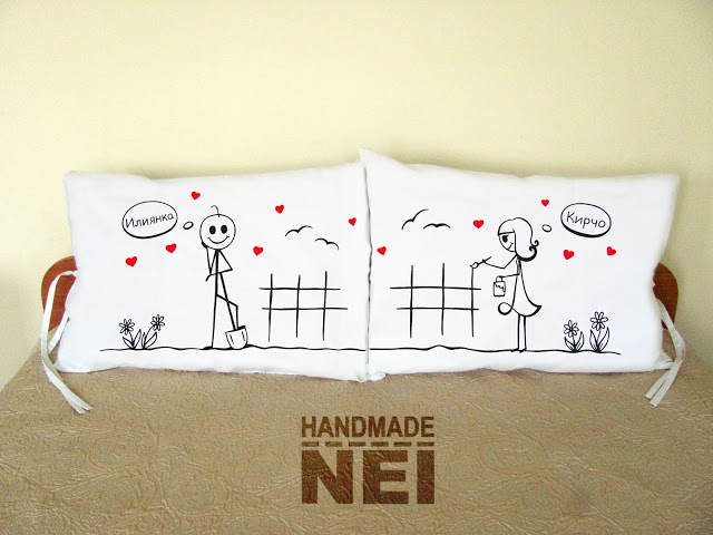 """Калъфки за възглавници за влюбени """"На двора""""2 - Handmade Nel"""