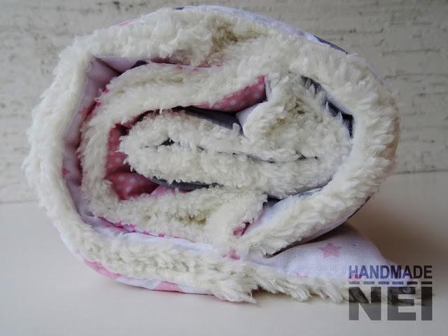 """Пачуърк одеяло с полар за бебе """"Сиво-розово"""" - Handmade Nel"""