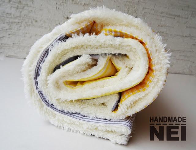 "Пачуърк одеяло с полар за бебе ""Сиво-жълто"" - Handmade Nel"