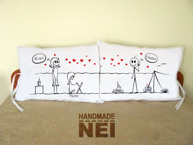 """Калъфки за възглавници за влюбени """"На къмпинг"""" - Handmade Nel"""