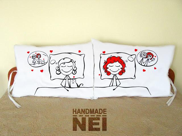"""Калъфки за възглавници за влюбени """"Усмихнати сънища"""" - Handmade Nel"""