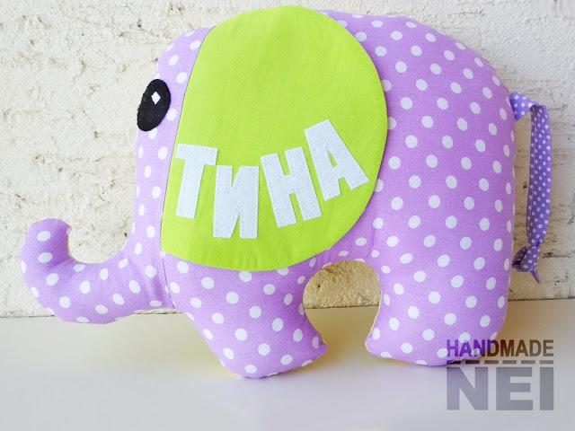 """Играчка слонче """"Тина"""" - Handmade Nel"""