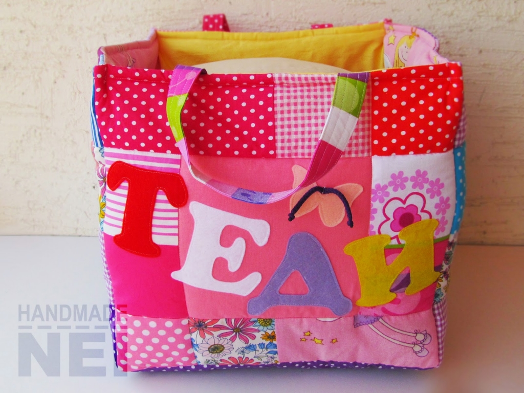 "Кош за играчки от плат ""Теди"" - Handmade Nel"
