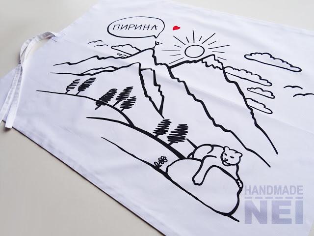 """Рисувана калъфка за възглавница """"Пирина"""" - Handmade Nel"""