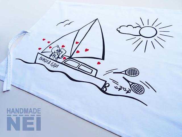 """Рисувана калъфка за възглавница """"Морска любов"""" - Handmade Nel"""