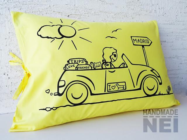 """Рисувана калъфка за възглавница """"Ново начало"""" - Handmade Nel"""