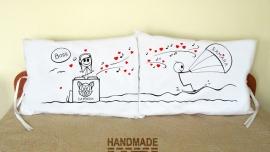 """Калъфки за възглавници за влюбени """"Сърф и музика"""""""