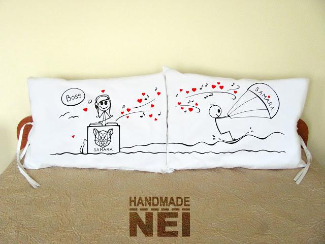 """Калъфки за възглавници за влюбени """"Сърф и музика"""" - Handmade Nel"""