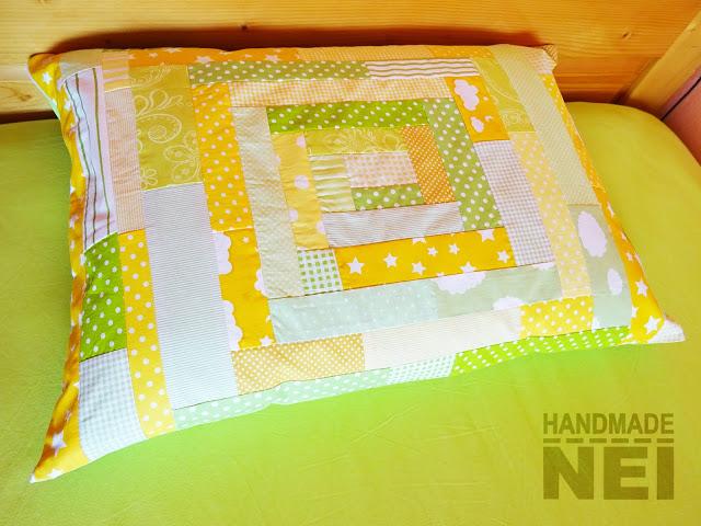 """Пачуърк калъфка за възглавница """"Трева и слънце"""" - Handmade Nel"""