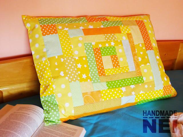 """Пачуърк калъфка за възглавница """"Слънчева"""" - Handmade Nel"""