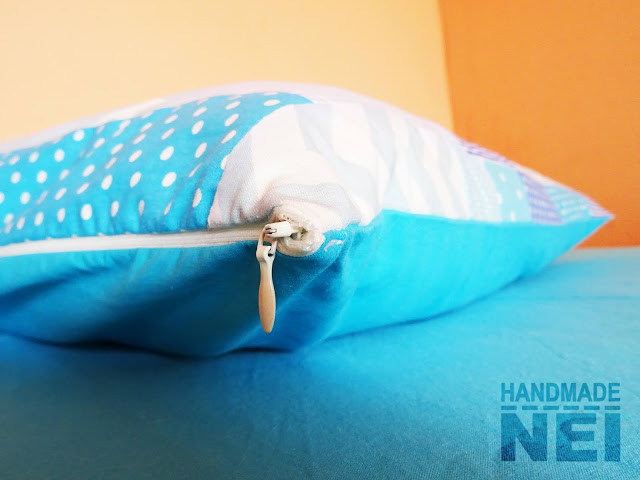 "Пачуърк калъфка за възглавница ""Вода"" - Handmade Nel"