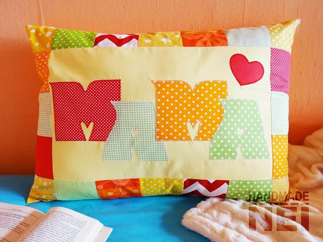 """Пачуърк калъфка за възглавница """"Мама""""3 - Handmade Nel"""