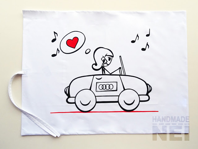 """Рисувана калъфка за възглавница """"Пътешественичка"""" - Handmade Nel"""
