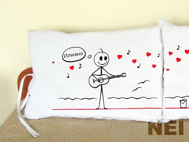 """Калъфки за възглавници за влюбени """"На морето"""" - Handmade Nel"""