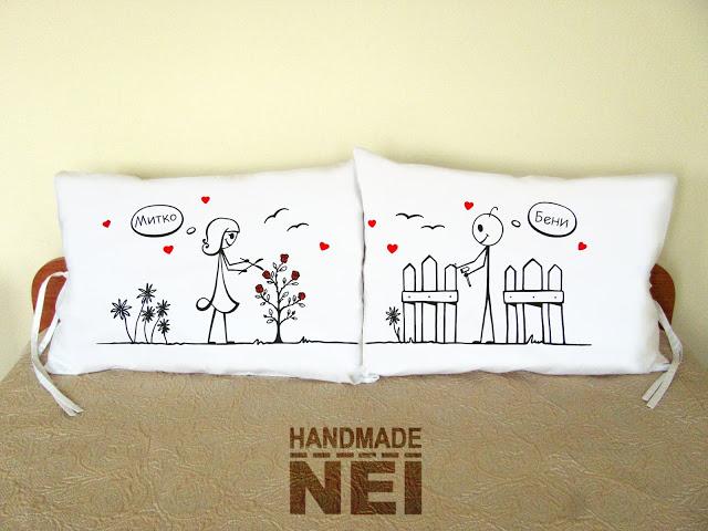 """Калъфки за възглавници за влюбени """"На двора"""" - Handmade Nel"""