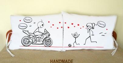 """Калъфки за възглавници за влюбени """"Моторист и спортуваща"""""""