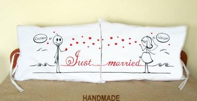 """Калъфки за възглавници за влюбени """"Just Married""""2"""