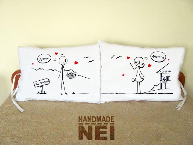 """Калъфки за възглавници за влюбени """"Влюбени в Балкана"""" - Handmade Nel"""