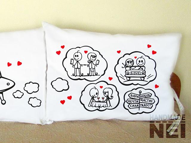 """Калъфки за възглавници за влюбени """"Любов в Космоса"""" - Handmade Nel"""
